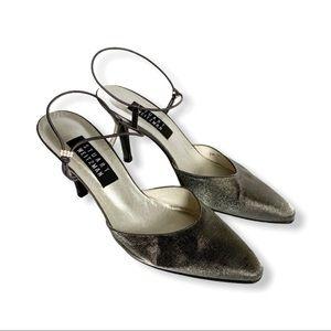 STUART WEITZMAN / silver ankle strap heels / 8.5